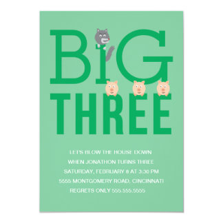 Three Little Pigs Third Birthday Invitation