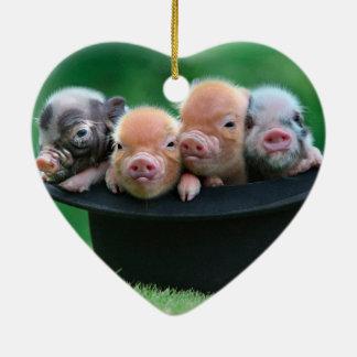 Three little pigs - three pigs - pig hat christmas ornament