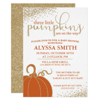 Three Little Pumpkins Fall Baby Shower Invitation