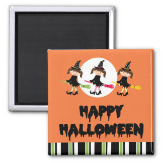 Three Little Witches Happy Halloween Square Magnet
