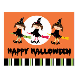 Three Little Witches Happy Halloween Postcard