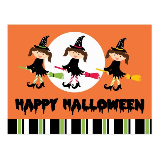 Three Little Witches Happy Halloween Post Card