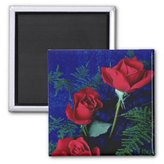 Three Long-Stemmed Red Roses And Ferns flowers Refrigerator Magnets