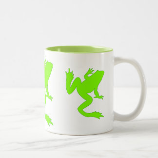 Three Lucky Chartreuse Green Frogs Silhouette Two-Tone Coffee Mug