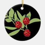 Three Lucky Ladybugs Round Ceramic Decoration