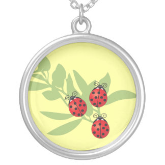 Three Lucky Ladybugs Silver Plated Necklace