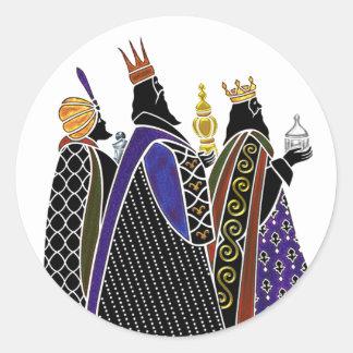 Three Magi Bearing Gifts Round Sticker