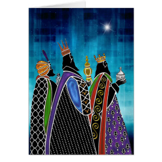 Three Magi Bearing Gifts Under Starry Sky Card