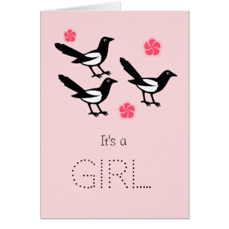 Three magpies baby it's a girl new baby card