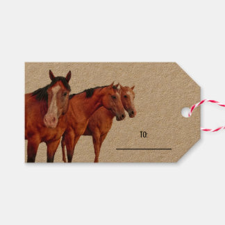 Three Mares for the Horse Lover Western Theme Gift Tags