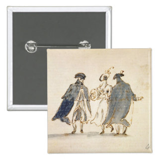 Three Masked Figures in Carnival Costume (pen & in 15 Cm Square Badge