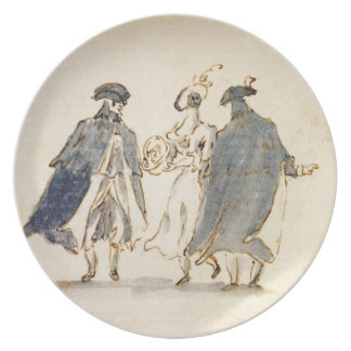 Three Masked Figures in Carnival Costume (pen & in Dinner Plates