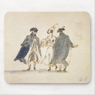 Three Masked Figures in Carnival Costume (pen & in Mouse Mat