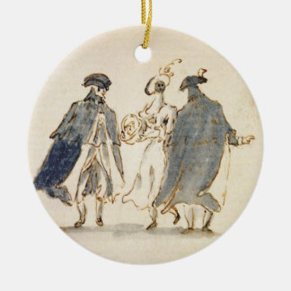 Three Masked Figures in Carnival Costume (pen & in Round Ceramic Decoration