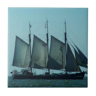 Three masted sailing ship small square tile