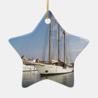 Three Masted Yacht Ceramic Star Decoration