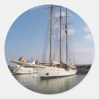 Three Masted Yacht Classic Round Sticker