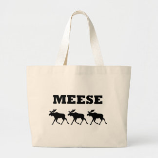 Three Meese Funny Large Tote Bag
