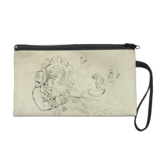 Three men and a woman drinking (pen & ink and w/c wristlet purses