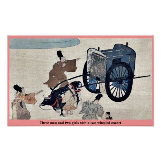 Three men and two girls with a two wheeled oxcart print