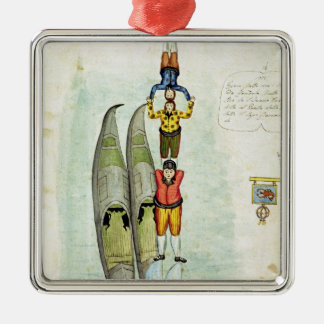 Three men balancing on two gondolas, 1772 christmas ornament