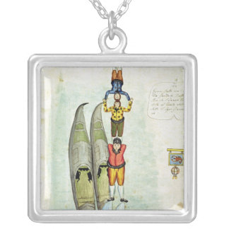 Three men balancing on two gondolas, 1772 silver plated necklace