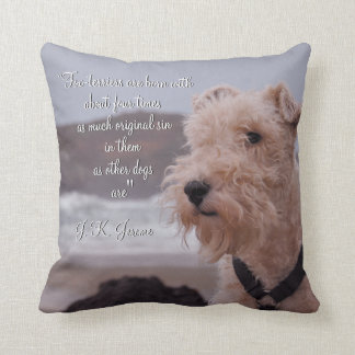 """""""Three men in a boat"""" Montmorency wire fox terrier Cushion"""