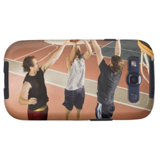 three men in athletic clothing playing samsung galaxy s3 cover