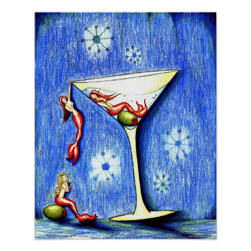 Three Mermaid Martini Print