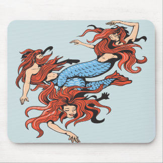 three mermaids vector cartoon art mousepad