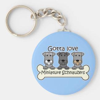 Three Miniature Schnauzers Basic Round Button Key Ring