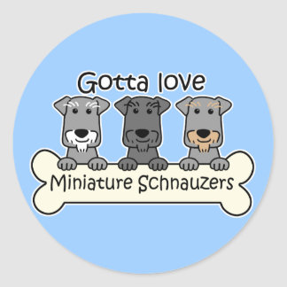 Three Miniature Schnauzers Classic Round Sticker