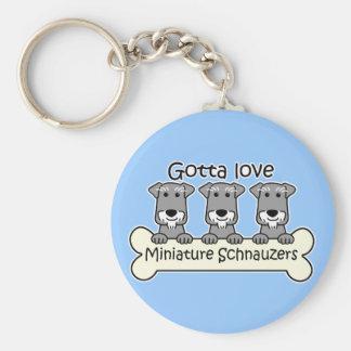Three Miniature Schnauzers Key Ring