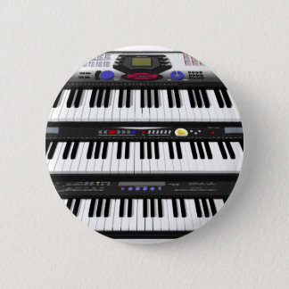 Three Modern Keyboards: Synthesizers: 6 Cm Round Badge