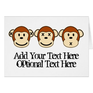 Three Monkeys Design Greeting Card