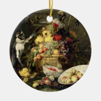 Three Monkeys Stealing Fruit (oil on canvas) Christmas Ornament