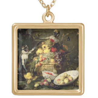 Three Monkeys Stealing Fruit (oil on canvas) Gold Plated Necklace
