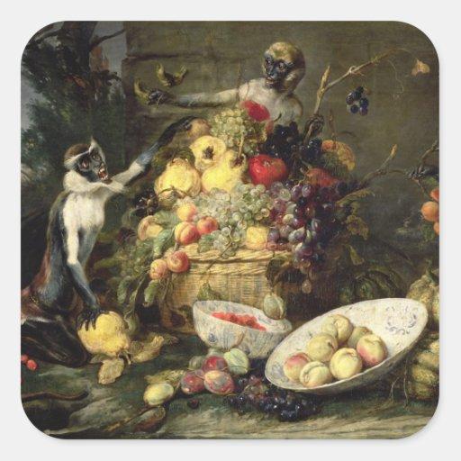 Three Monkeys Stealing Fruit (oil on canvas) Stickers