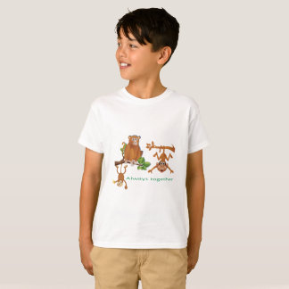 THREE MONKEYS TOGETHER AS FRIENDS T-SHIRT
