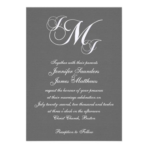 Three Monogram Wedding Invitations Template