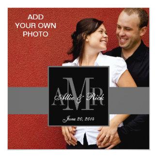 Three Monograms with Photo Wedding Invitations