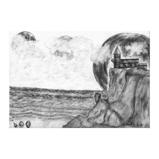 Three Moons A Day at The Beach, Pencil Drawing Gallery Wrapped Canvas