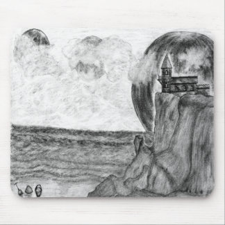 Three Moons A Day at The Beach. Pencil Drawing Mouse Pad