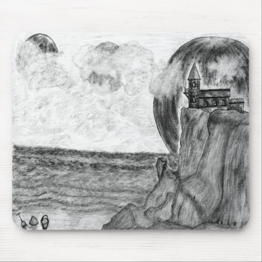 Three Moons A Day at The Beach. Pencil Drawing Mouse Pads