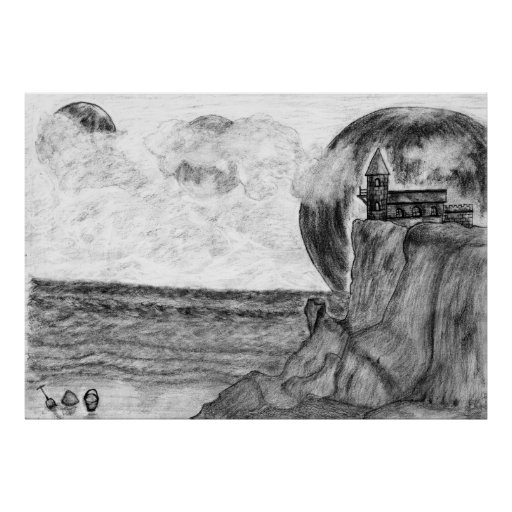 Three Moons A Day at The Beach, Pencil Drawing Poster