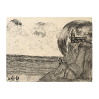 Three Moons A Day at The Beach, Pencil Drawing Wood Canvases