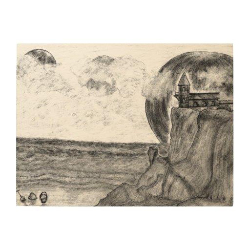 Three Moons A Day at The Beach, Pencil Drawing Wood Prints
