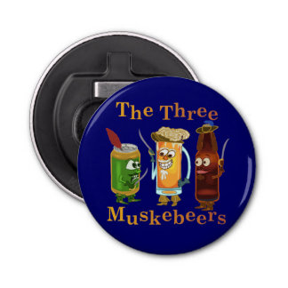 Three Muskebeers Funny Beer Pun Bottle Opener