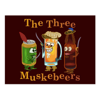 Three Muskebeers Funny Beer Pun Postcard