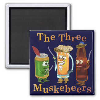 Three Muskebeers Funny Beer Pun Square Magnet